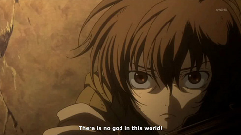 Gundam 00 : Boy thinks to himself that there's no god in this world.