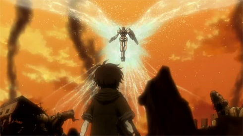 Gundam 00 : Boy sees a Gundam hovering in the sky radiating bright particles exhuding from its back.