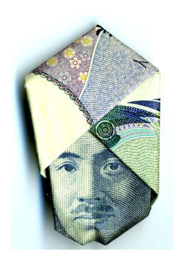 Japan Origami : 1000 yen note folded into Hideyo Noguchi with a turban.